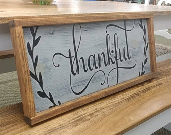 Large Thankful Wood Sign Framed, Wooden Thankful sign, custom wood sign, wooden Thankful sign, Joanna Gaines, Fixer Upper, farmhouse decor
