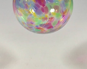 Hand Blown Glass Ornament:  Rainbow Mix Smooth Sphere
