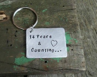 Year anniversary copper special date keyring seven years