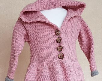 Light pink coat, hooded knit girls coat, long sweater with hood, warm hooded cardigan