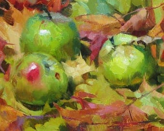 Autumn Apples - original oil painting, alla prima oil painting, one of a kind