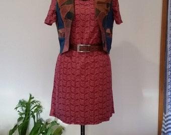 Retro 1990's Red Paisley Print Shift Dress