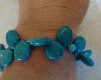TURQUOISE BRACELET- Teardrop shaped beads