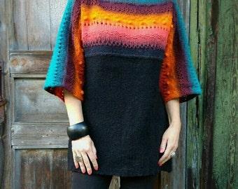 Chunky Sweater Dress, Oversize Knit Tunic, Wool Chunky Sweater, Oversized Sweater, Loose Sweater Tunic, Long Wool Sweater, Rainbow Sweater