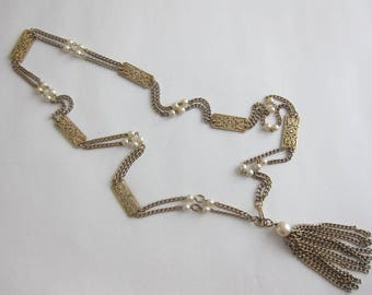 60's beads and metal gold tassel necklace. Chanel style.
