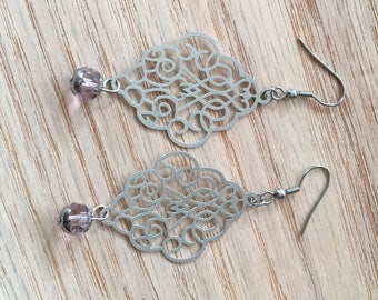 Handmade earrings with swarovski faceted bead
