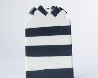Black and White Stripe Art Soap - Cold Process Handmade Soap