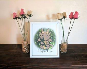 Art Print Bamboo Kawaii Dragon Treehugger Instant Download, Hug a Tree