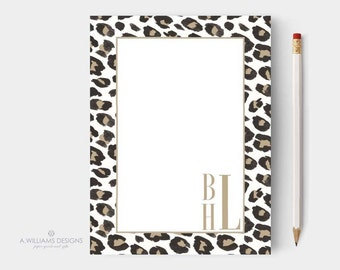 Personalized-Notepads/Leopard print Personalized notepads/Custom Notepads/to do list notepad/writing pad/teacher gift/personalized writing