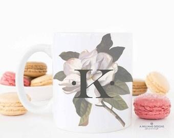 Magnolia coffee mug/ Single initial coffee mug Mug / Personalized Mug / 11oz. & 15oz Initial Mug /Great housewarming gift/Personalized Gift