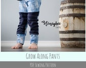 Apple Tree Grow Along Pants: Grow with me sewing pattern for baby children sewing pattern pants leggings PDF printable sewing pattern