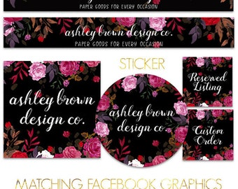 Etsy Shop Set, Black with Roses, Etsy Banner Set, Shop Graphics, Etsy Banner, Facebook Cover, Etsy Shop Branding Package, Etsy Graphics
