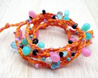 Mermaid Wrap Bracelet, Boho Wrap Bracelet, Beaded Wrap Bracelet, Beach Jewelry