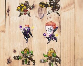 Orisa, Doomfirst, or Moira Overwatch stickers