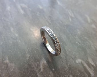 Sterling silver ring platted with Rhodium. Sterling Siver Ring. Wedding Band.