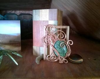 Paisley inspired, hand made one of a kind solid copper and Russian Seriphite brooch pin.