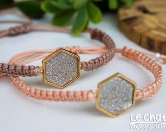 Gift for her, Macrame bracelet, Geometrical bracelet, Macrame jewelry, Peach bracelet, Beige bracelet, Polygone, Macrame, Gold