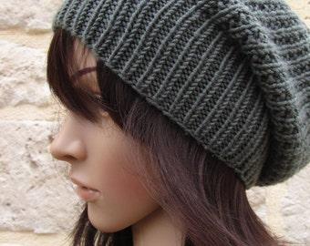 Slouchy beanie grey  * hand made* - 100 % wool merino