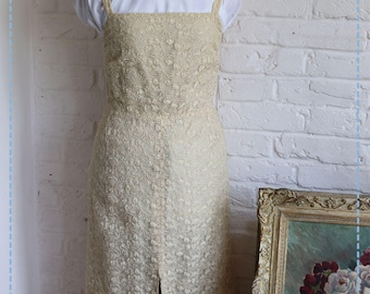 Vintage Floral Lace Full Length Dress, Handmade, Cream.