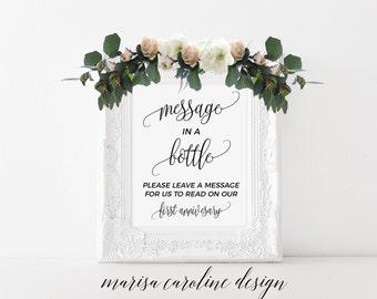 Message in a bottle sign, wedding sign,  alternative guest book sign, message in a bottle wedding sign, printable wedding sign, MCD102