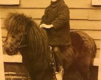 Vintage Victorian Photograph Child on Shetland Pony, Sepia Tones, 1800's