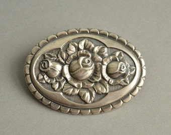 Antique Art Nouveau 800 Silver Roses Repousse Oval Brooch, Germany, 1900's