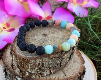 Balance Bracelet, Gemstone Bracelet, Lava Bead Bracelet, Diffuser Bracelet, Lava Rock Bracelet, Amazonite Bracelet, Yoga Bracelet, Gift