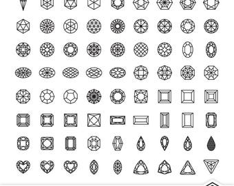 81 Gemstone Icons, Jewel Clip Art, Digital Monoline Illustrations, Personal / Commercial Use Artwork, Vector, PDF, JPEG, PNG