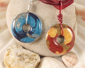Fantasy luminescent multi-coloured pendant - hammered effect Pebeo and resin on washer - choice of hot or cold colours - Birthday
