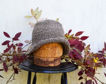 Knitted Winter Hats for Women, Short brim Cloche, Short brim Hat, Floppy brim hat, Packable Hat, Tweed Accessories