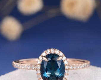 London Blue Topaz Ring Rose Gold Engagement Ring Oval Cut Diamond Halo Half Eternity Birthstone Women Bridal Wedding Stacking Antique Retro