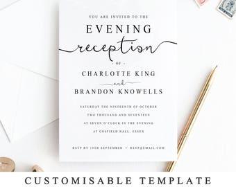 Print At Home Evening Reception Wedding Invitation Template, DIY Printable  Wedding Reception Guest Template,  Invitation Template