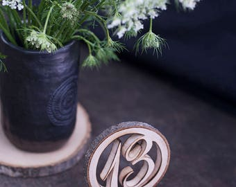 12 Wooden table numbers - Rustic table numbers - Wedding table numbers - Country wedding table numbers - Table number, Wedding table decor