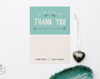 Teal Blue Wedding Thank You Card - Wedding Invite Set Our Ever After