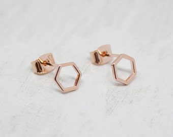 Small shiny rose gold earrings Hexagon
