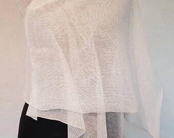 White scarf, linen scarf, summer scarf,  knit scarf, scarves, linen shawl, knit shawl, white shawl, bridal scarf, wedding shawl