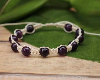 No. 46 Amethyst and Garnet Hemp Macrame Style Bracelet