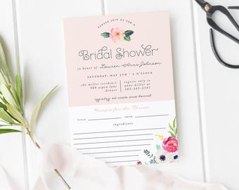 bridal shower invitation and recipe card recipe card bridal shower brunch bridal shower invitation