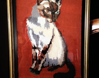Antique canvas Siamese cat and gold frame