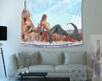 Mermaid Tapestry- Cool Tapestries- Trippy Crisp Image- Design- Beach Home Decor- Blue, Aqua, Sand Tones- High-Quality Fabric