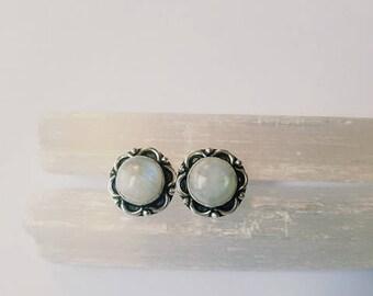 Rainbow Moonstone Earrings Rainbow Moonstone Studs Rainbow Moonstone Crystal Earrings Rainbow Moonstone Crystal
