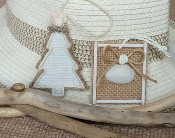 Coastal Christmas Ornaments,Seashells Christmas Tree Decor, Beach Christmas Ornaments, Rustic Summer Decor,Christmas Decor,Beach House Style