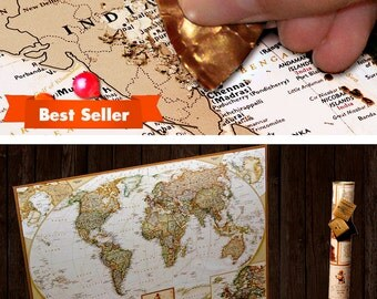 Scratch Travel Map Push Pin - Detailed Scratch Off Map - World Map - USA is divided into states - Wedding Gift, Anniversary Gift
