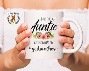 Godmother Mug | Best Auntie Get Promoted to Godmother Mug | Gift for Godmother | Godmother Gift | Godmother Cup | Godparent mug | CM-160