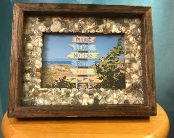 Refurbished Barnwood Picture Frame with Beach Agate Edge