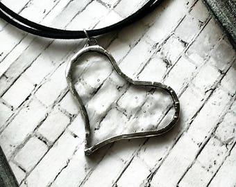 Transparent Heart Pendant, Heart Necklace, Stained Glass Pendant, Laced Glass Pendant, Love Necklace