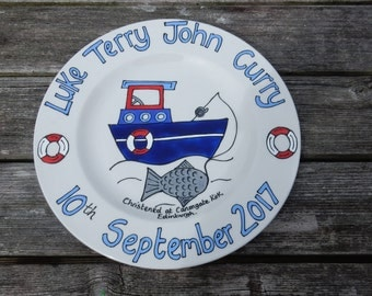 Hand painted personalised new baby birth christening plate/ boat/ fishing/ sailing gift