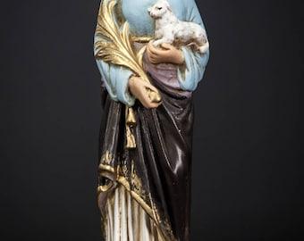 "RARE 11"" Large Saint Agnes of Rome Plaster Statue Vintage St Virgin Martyr"