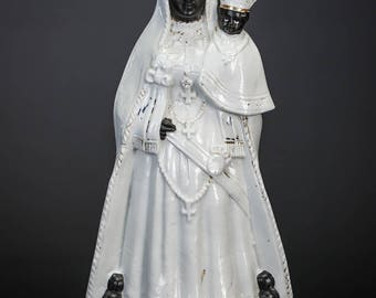 RARE Antique Black Madonna w Baby Jesus Porcelain Statue Our Lady of Hal Halle Virgin Mary