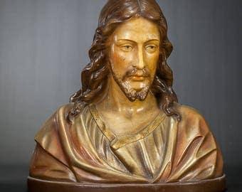 "13"" Our Lord Jesus Christ Plaster Bust Vintage Statue Artist Signed Figure"
